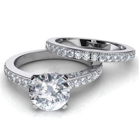 wedding rings with bands novo brilliant engagement ring matching