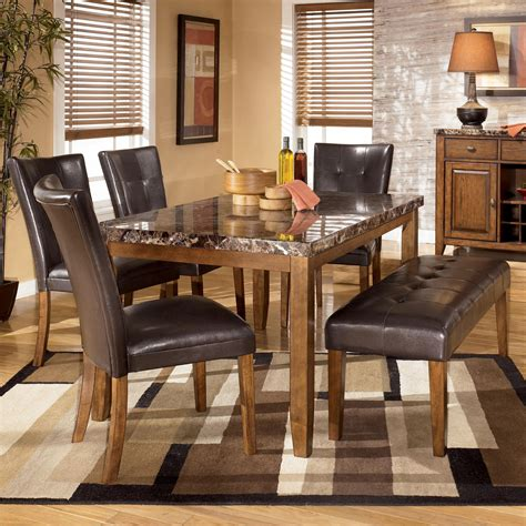 Bench Dining Room Set Signature Design By 6 Dining Table With Side Chairs Bench Set Sol