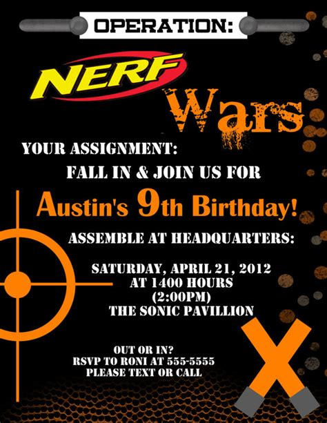 Nerf Dart Digital Birthday Invitation By Stonelovedesigns On Etsy 15 00 Stonelove Designs Nerf Gun Birthday Invitation Template