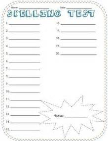 spelling templates spelling test template free printable paper and