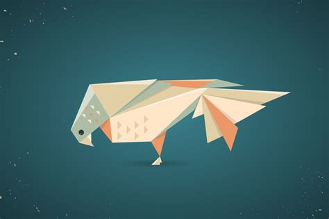 Origami Ui - colourful origami pigeon or dove illustrations on