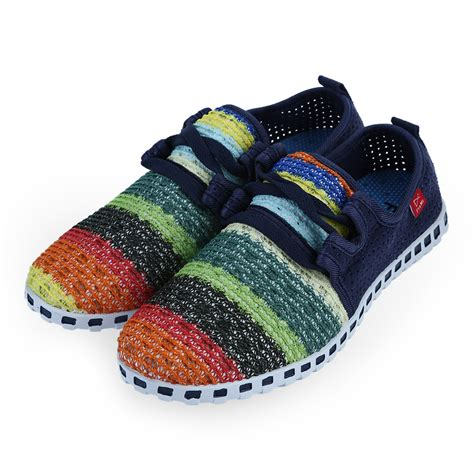 womens colored s multi colored woven flat slip on sneakers casual