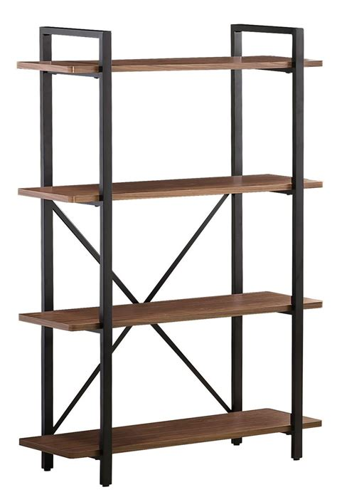 800336 light brown metal frame bookcase from coaster