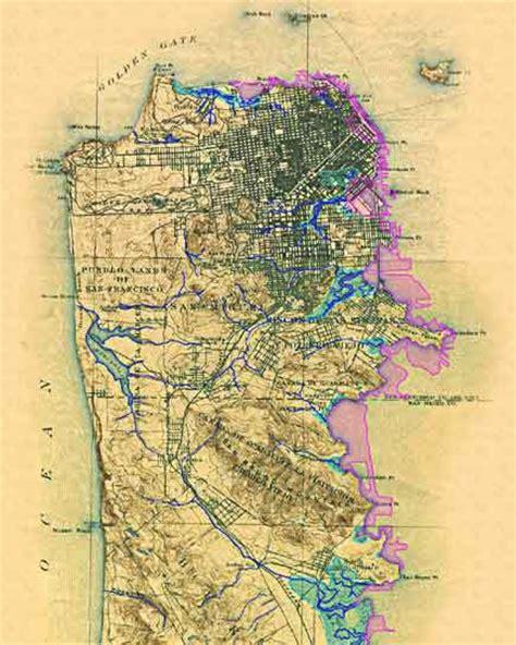 san francisco historic map historical map of san francisco creeks tom s garden
