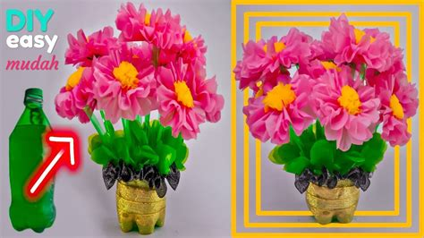 mudah membuat bunga hias  botol plastik bekas