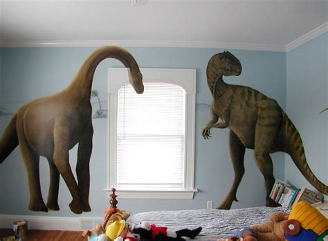 giant bedroom kids bedrooms with dinosaur themed wall art and murals