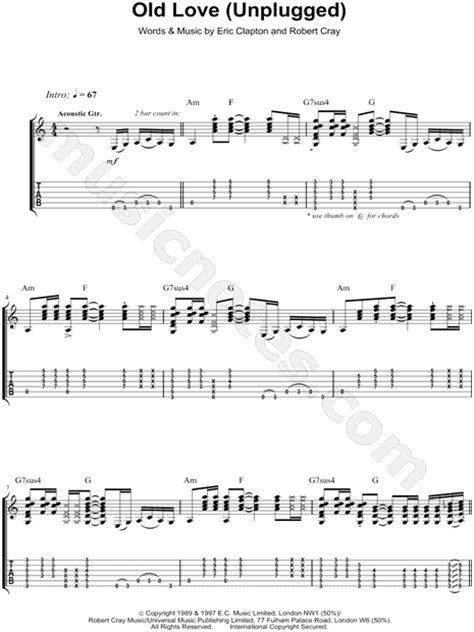 easy lover testo eric clapton quot unplugged quot guitar tab in a minor