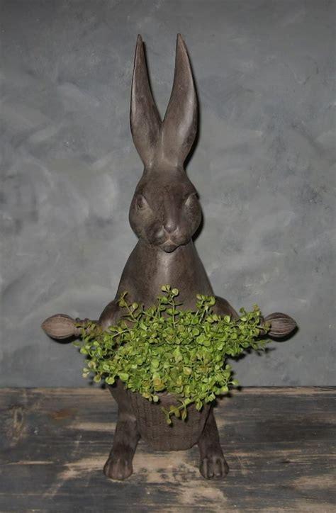 Garden Rabbits Decor Big Bunny Rabbit Statue Basket Primitive Country Easter Decor New Bunnies