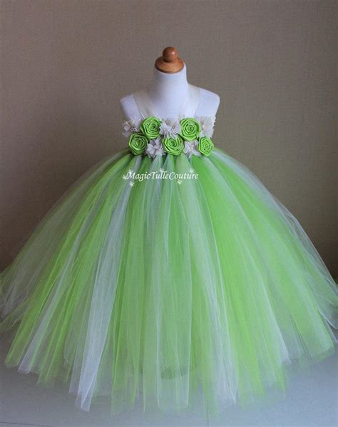 Dress Tutu Flower Green Pink lime green and ivory flower tutu dress tulle dress
