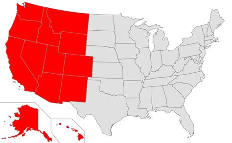 west side of the united states map western united states
