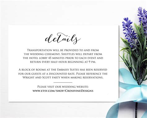 Wedding Website Insert Card Template by Wedding Website Insert Card Thevillas Co