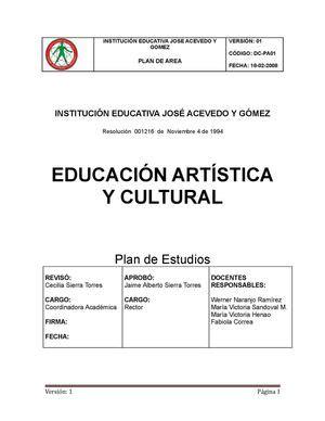 malla curricular educacion artistica y cultura calameocom calam 233 o plan de area de artistica