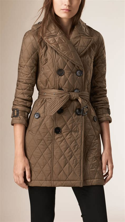 Quilted Coat lyst burberry quilted trench coat dusty khaki in brown