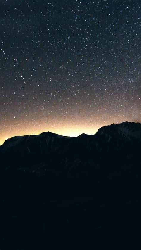 wallpaper night sky mountains  nature