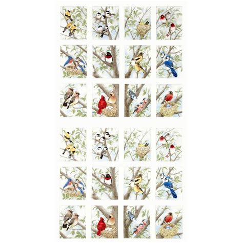 beautiful birds panel cream discount designer fabric