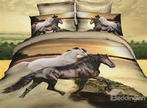 3d white and black horses print 4 bedding sets