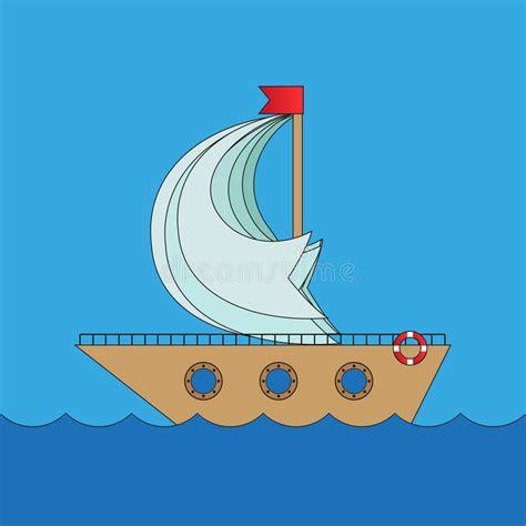 cartoon boat at sea cartoon vector ship in sea stock vector image 53465467