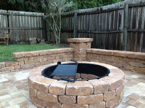 Small Firepit Outdoor Retreat Area With Pit Small Bench Wall Column With Lighting By Stonecraft Pavers
