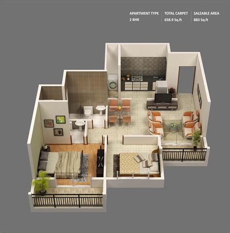 Guest Home Floor Plans by 50 3d Floor Plans Lay Out Designs For 2 Bedroom House Or
