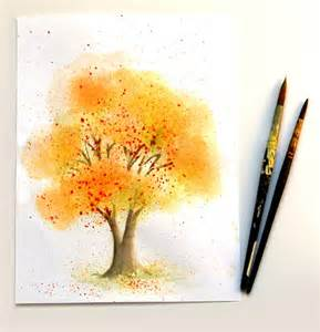 learn watercolor painting fall tree a piece of rainbow