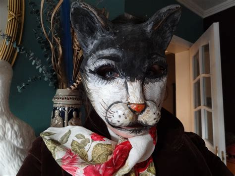 Paper Mache Mask - mask paper mache cat mask animal mask by