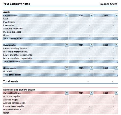 comparative balance sheet template for excel excel templates