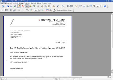 briefvorlagen open office easylinux easylinux 02 2007 bewerbungen mit openoffice