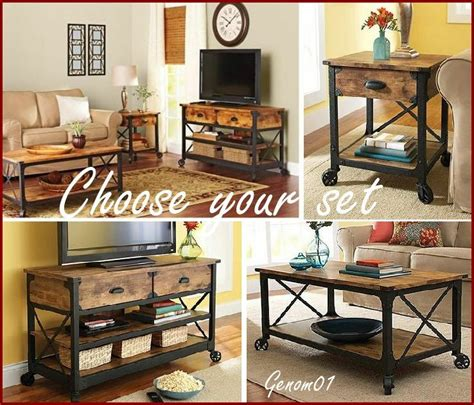 rustic living room set coffee table  accent tv stand wood country furniture ebay