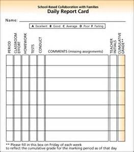 Daily Report Card Template For Adhd by Report Card Behavior