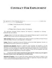 contract of work template free contract of employment templates search