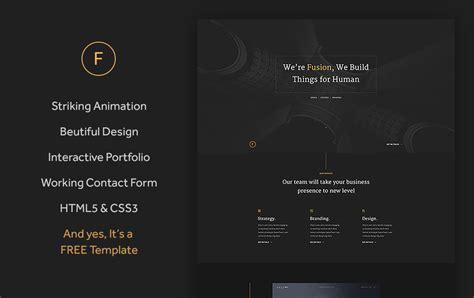 fusion free html5 portfolio template templateocean
