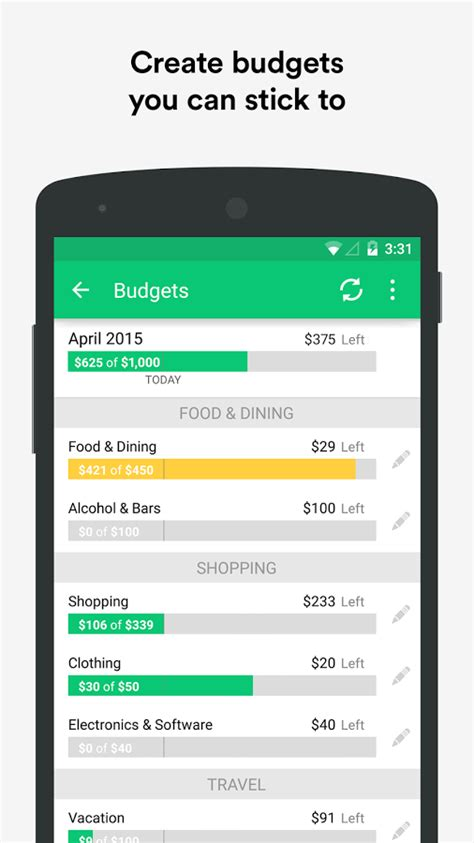 finance app android mint personal finance money android apps on play