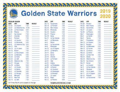 printable   golden state warriors schedule