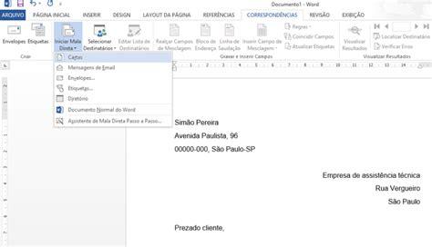 como colocar layout no email como fazer um modelo de carta para mala direta no word