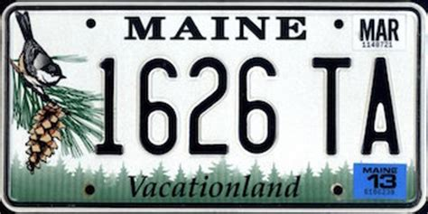 Maine State Vanity Plates by The Official Maine State License Plate The Us50