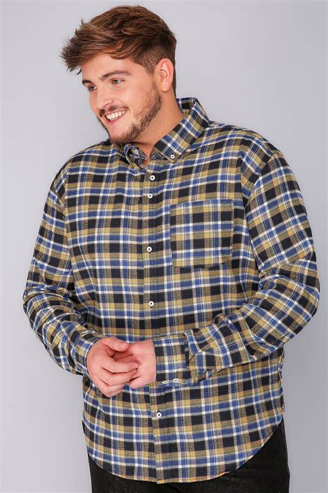 Checked Shirt badrhino mustard brushed checked shirt size l to 6xl