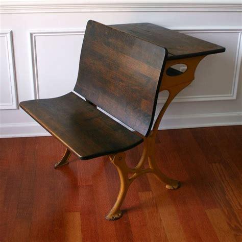Industrial School Desk Bench Desk Chair Bamboo Mustard Vintage School Desk