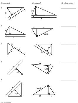 Similar Triangles Worksheet Pdf by Similar Right Triangles Partner Worksheet By Mrs E Teaches