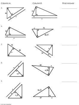 similar right triangles worksheet similar right triangles partner worksheet by mrs e teaches