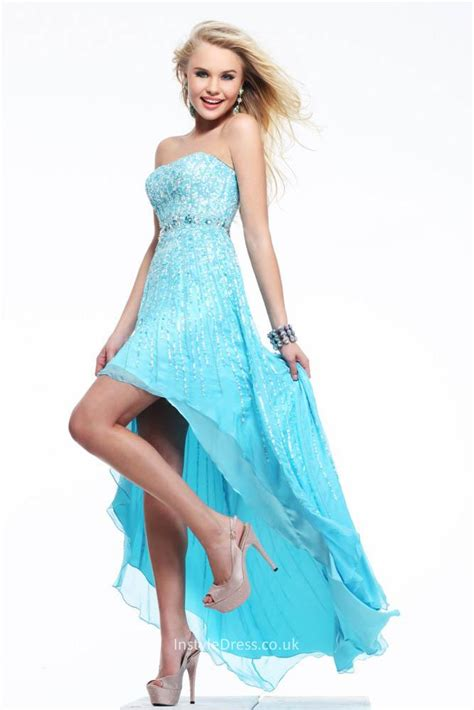 Sequins and Beads Strapless High low Sky Blue Prom Dress   InstyleDress.co.uk