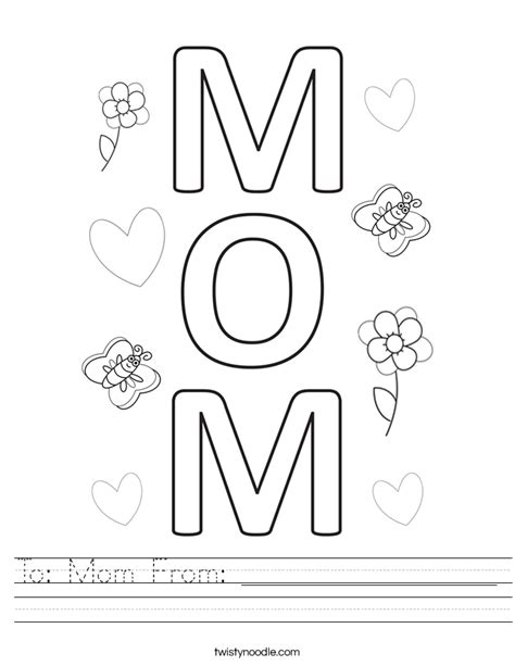 birthday coloring sheets to mom from worksheet twisty noodle