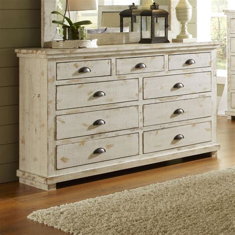 Distressed Bedroom Dressers Progressive Furniture Willow P610 23 Distressed Pine Drawer Dresser Hudson S Furniture Dressers