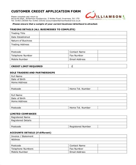 11 Sle Credit Application Forms Free Sle Exle Format Customer Credit Check Template