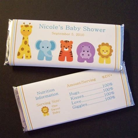 Personalized Bars For Baby Shower by Personalized Baby Shower Bar Wrappers Zoo Animals