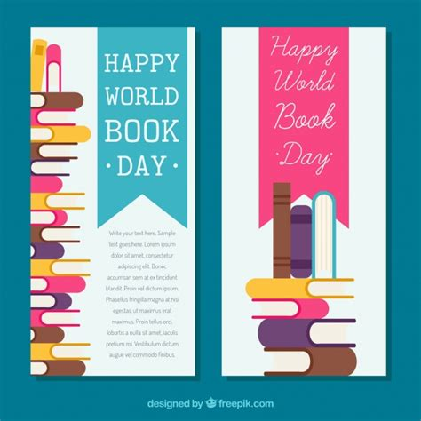 banner design work banners of the world book day in flat design vector free