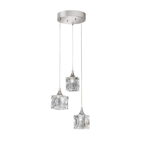 glass cube light fixture home decorators collection 3 light polished chrome