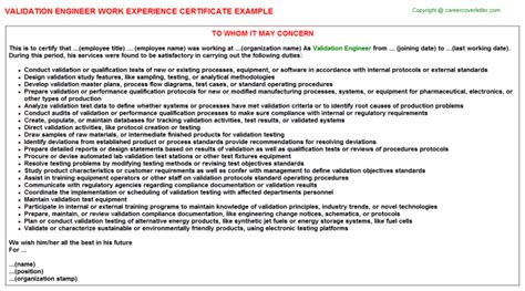 process validation engineer work experience letters