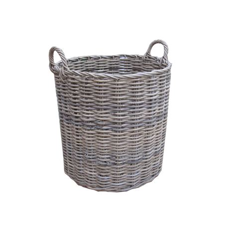 rattan baskets grey buff rattan round wicker log basket