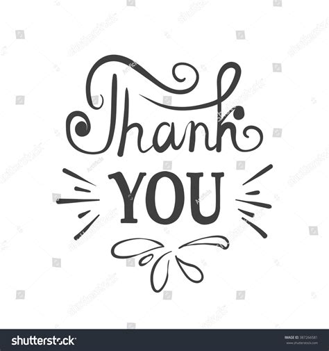 your inc thank you ink lettering stock vector 387266581