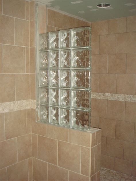 glass block designs for bathrooms half wall shower design an addition some glass